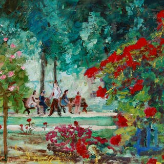 Oil on canvas of walkers in a public garden - Christine Jacquel