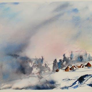 Original watercolor of a mountain landscape. - Christine Jacquel