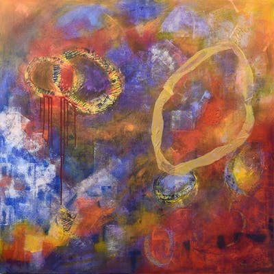 Large Abstract Contemporary Painting  Barney Fell - Kelly Hutchinson