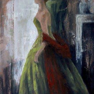 Green Dress and Red Shawl - Naoko Paluszak
