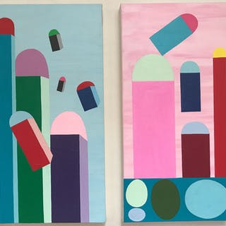 Tipping Point Diptych - Nancy Goodman Lawrence