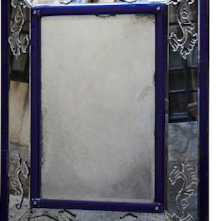 Miroir à Parecloses en verre bleu et blanc