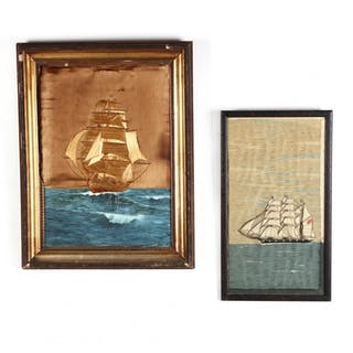 Two Framed Ship Needleworks