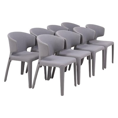 367 Hola Grey Fabric Chairs by Hannes Wettstein for Cassina, Set of 8