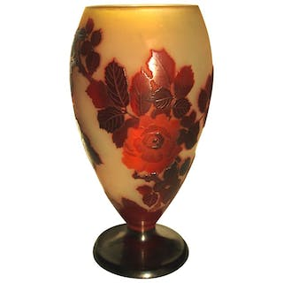 Emile Galle Art Nouveau Cameo Glass Roses Vase -French