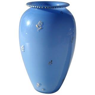 Bohemian Enamelled Loetz Blue Tango Glass Vase by Dagobert Peche