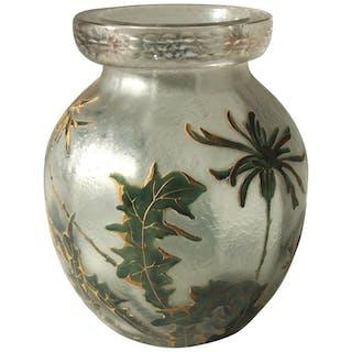 French Art Nouveau Legras Enamel and Gilded Glass Vase