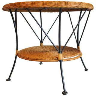 Rattan and Iron Two-Tier Coffeee Table Mid-Century