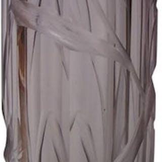 Bohemian Art Nouveau Large Moser Purple to Clear Intaglio Cut Glass Vase c1900