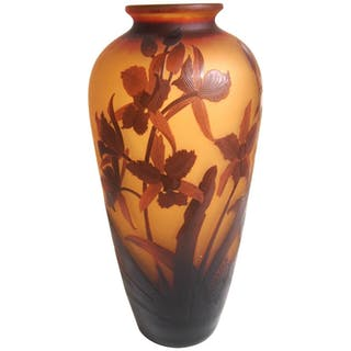 French D'Argental Art Nouveau Orchid Cameo Glass Vase, with Letter