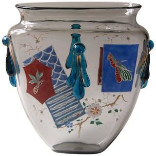 Bohemian Harrach Grey Japonisme Enameled Glass 'Panel' Vase circa 1895