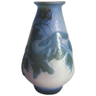 French Art Nouveau Emile Galle Fire Polished Cameo Glass Vase circa 1900