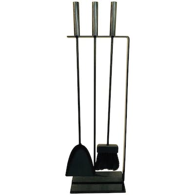 Modernist Black Iron and Brass Fireplace Stand with Three Tools