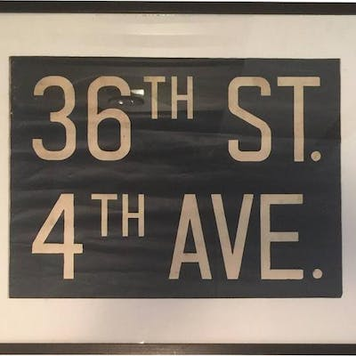 Vintage Framed Subway Sign