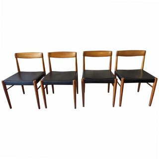 Set of Four Teak and Leather Dining Chairs by H W Klein for Bramin