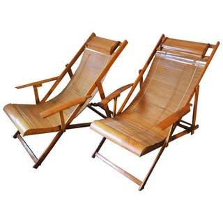 Fine Unusual Pair of Japanese Bamboo Adjustable Deck Chairs with Armrests