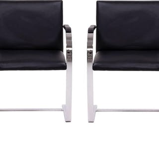 Brno Black Flat Bar Chairs, Knoll, Set of 2
