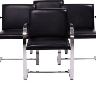 Brno Black Flat Bar Chairs, Knoll, Set of 4