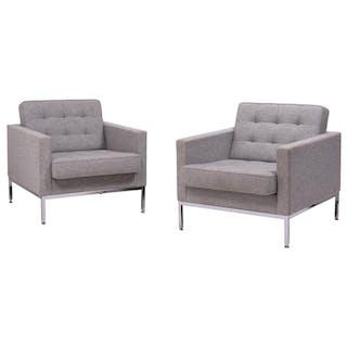 Elegant Pair of Florence Koll Grey Wool Armchairs