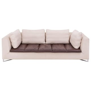 Feng Ivory and Brown Three-Seat Sofa by Didier Gomez for Ligne Roset