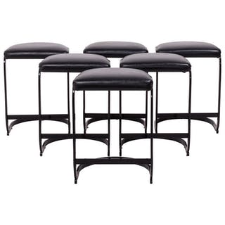 Midcentury Black Metal and Leather Stools, Set of Six