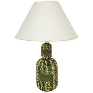 Midcentury Italian Green and Yellow Ceramic Table Lamp