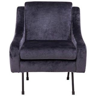 Mid-Century Modern Dark Blue Velvet Armchair