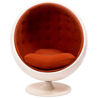 Orange Ball Chair After the Model by Eero Aarnio, Wool and Fibreglass