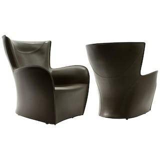 Pair of Molteni Brown Leather Armchairs