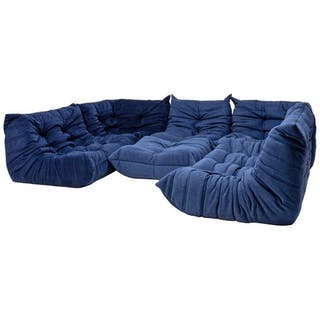 Togo Blue Modular Sofa and Footstool by Michel Ducaroy for Ligne Roset