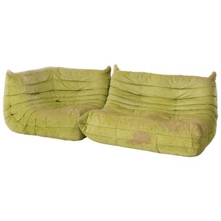 Togo Lime Green Fabric Sofa by Michel Ducaroy for Ligne Roset, Two-Piece Set