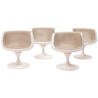 Vintage White & Taupe Swivel Tulip Tub Chairs, Set of 4