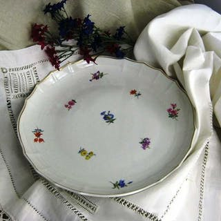 Antike Kuchenschale mit Streublumen Porzellan Meissen handbemalt Jugendstil