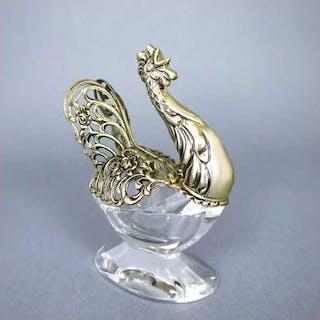 Salzschale in Form eines Hahns Silber Glas