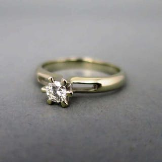 Eleganter abstrakter Damen Solitär Brillant Ring in Weißgold vintage Schmuck