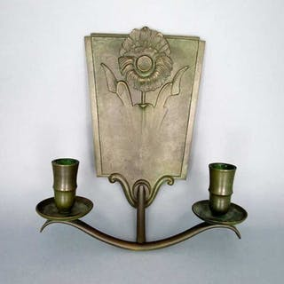 Art Deco Wandleuchter Schweden Bronze gegossen zweiflammig Nyköping Giselorer