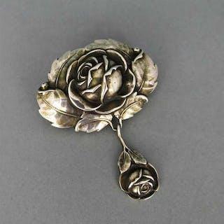 Antike Jugendstil Brosche in Silber Rosendekor Deutschland Handarbeit