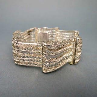 Art Deco Filigran Silber Armband reich durchbrochen in Handarbeit
