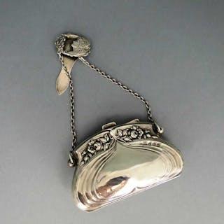 Antike Silber Jugendstil Handtasche Börse mit Chatelaine, Rosenrelief und Leder