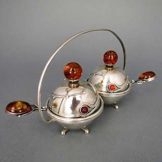 Art Deco Gewürz- oder Kaviarmenage in Silber und Bernstein aus Danzig