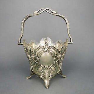 Antike Jugendstil Korb Schale in Silber und Kristallglas Koch & Bergfeld 1900