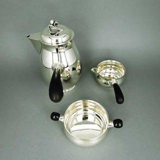 Art Deco Mocca Set in Silber und Ebenholz Georg Jensen Harald Nielsen Dänemark