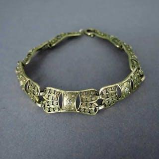 Antikes Damen Glieder Armband in Filigrantechnik aus vergoldetem Silber