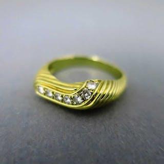 Interessanter abstrakt geformter Damen Gold Ring mit zahlreichen Brillanten