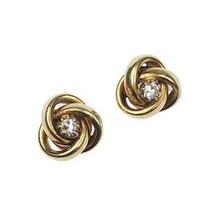 8 ct. Gold Ohrstecker / Ohrringe mit Diamant aus den 1960er Jahren Vintage