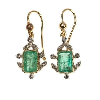 18 ct. Gold & Silber Ohrringe mit Smaragd & Diamanten, Vintage jewellery