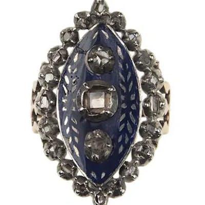 Um 1780 – 18 ct. Gold / Silber Ring mit Diamanten & Emaille Georgian