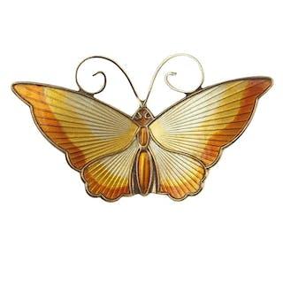 Vergoldete Sterling Silber / Emaille Brosche Schmetterling von David