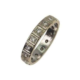18 ct. Gold Eternityring / Verlobungsring mit Diamanten Vintageschmuck