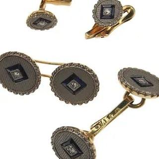 18 ct. Gold / Platin Set Manschettenknöpfe & Frackknöpfe England um 1910
